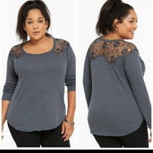 Torrid Lace Inset Thermal Tee - Charcoal - Size 2
